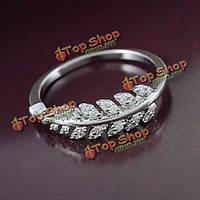 Элегантный серебряный позолоченный циркон Crystal листьев палец кольцо для женщин
