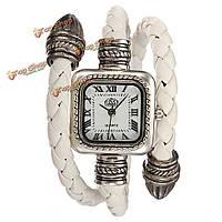 Леди мода вязаный кожа браслет стиль кварцевые наручные часы квадратные