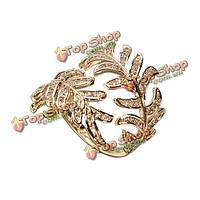 Микро цирконами декор оливковые открытие лист пальцев кольца для женщины