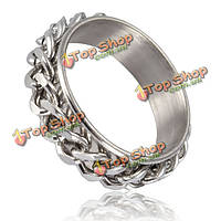 Серебряный черный нержавеющей стали Снаряженная цепи кольцо для мужчин, женщин