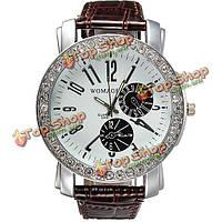 Мода кристалл световой указатель круглый циферблат кожаный ремешок наручные часы