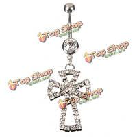 Полный rhinestone полые крест пупка кнопки живота кольцо пирсинг ювелирные изделия