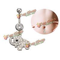 Кристаллические кольца пупка слона подвешивают барные драгоценности пирсинга пупка