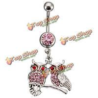 1шт кристалл пара Совы свисают пупке кольцо живота пирсинг ювелирные изделия тела
