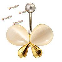 Женщин сексуальный кристалл живота пупка бар кольцо бабочка пирсинга ювелирные