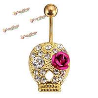 Цветок череп пупка пирсинг бар кристалл живота кольцо женщины ювелирные изделия