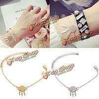 Золото серебро перо кисточкой мечта зрелище кулон браслет-цепочка для женщин