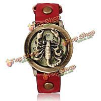 Старинные скорпиона кожаные бронзовые кварца женщин браслет часы