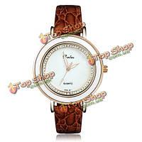Элегантный кристалл горный хрусталь кожа женщины наручные часы из розового золота