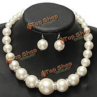 Кристалл Перл свадебные ожерелье серьги комплект ювелирных изделий