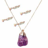 Позолоченная нерегулярную природного кварца ожерелье камень для женщин