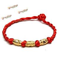Сплав золота бисер красный шнурок веревки богатство повезло браслет