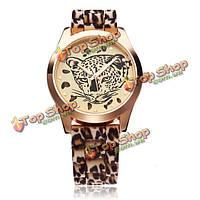 Мода Leopard резиновые женщины кварцевые наручные часы