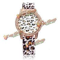 Леопард кристалл Римской цифрой резиновых женщин наручные часы
