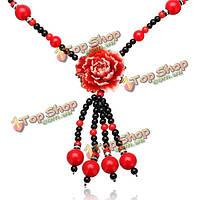 Этническая имитация нефрита цветок смолы краски бусы ожерелье ювелирных изделий