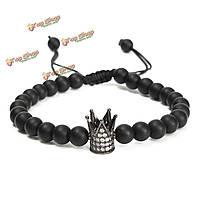 Унисекс черный матовый оникс корону кристалл бисера браслет ювелирные изделия