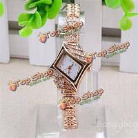 Женщин позолоченный комплект ювелирных браслет элегантные кварцевые часы