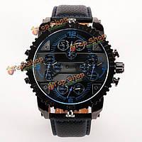 Oulm HP3233 мужчины военные часы множественный дисплей времени кожа большой циферблат ремешок кварцевые часы