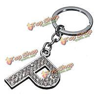 Очарование письма первоначальный блестящий серебряный кристалл кольцо для ключей цепочки для ключей бирки