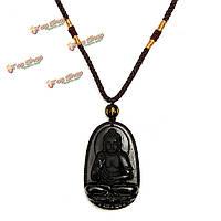 Китайский обсидиана резные Будды кулон ожерелье ювелирных изделий