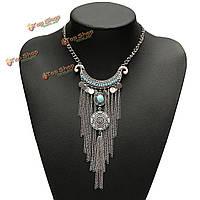 Богемной ретро бирюзовый долго кисточкой короткое колье нагрудник ожерелье