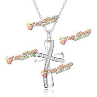 Серебряные женщины 925 крест ожерелье ювелирные изделия кристалл цепи