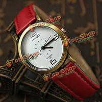 Hongc 291 Винтаж искусственного кожаный ремешок металлический корпус кварцевые часы