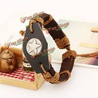 Плетеный кожаный браслет Звезда