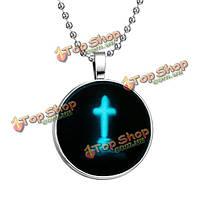 Черный панк раз камень крест цепи из нержавеющей стали ожерелье светящийся