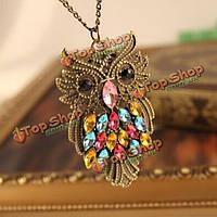Старинные красочные rhinestone бронзового сова свитер цепи ожерелье
