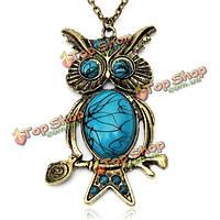 Античное серебро бронза синий камень сова кулон ожерелье женщин ювелирные изделия