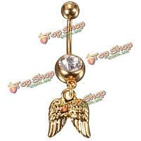 Золотые крылья ангела кристалл пупка кнопки живота кольцо пирсинг