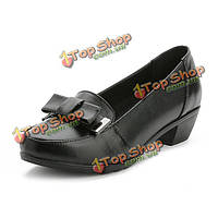 Женщины досуг мягкие плоские туфли кожаные Bowknot поскользнуться на черные мокасины