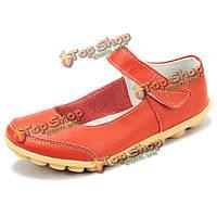 Большие женщины размера мягкой кожи дышащий удобные плоские ботинки пряжки круглые квартиры пальца ноги