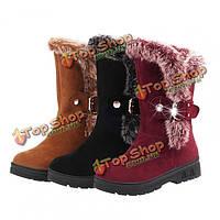 Женщины ботинки лодыжки зимние короткие сапоги искусственный мех снегоступы