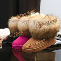 Ботинки снежка женщин новый держать теплой плюшевой моды лодыжки короткие сапоги замшевые сапоги аппартаментов