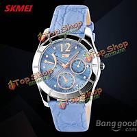 Вахта 6911 кристалл элегантный кожаный ремешок водонепроницаемые наручные часы