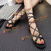Женские летние сандалии ремешками шикарные дышащие плоские сандалии флип сандалии