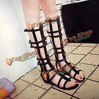 Женщины шикарные сандалии ремешками плоские ботинок колена высокой молнии вверх летом пляж обувь
