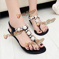 Женщины сандалии обувь флип-флоп ремешок плоские сандалии ремешками горный хрусталь