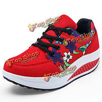 Женщины сетки цветок случайный открытый шнуровке рокер подошва ботинок спорта плоские спортивную обувь
