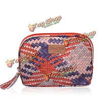 Женщины красочные тканые сумки косметические дамы клатчи держателя карты кошелек 3-х размеров