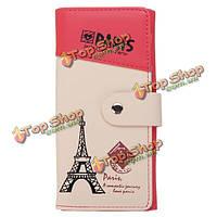 Женщины Эйфелева башня Длинный кошелек девушки пары конфеты цвет сумки HASP кошелек для монет держатель карты