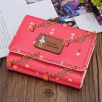 Женщины цветочные короткие бумажник девушки держатель конфеты цвет мило точка засов кошелек карта мешки для монет