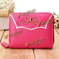 Женщины конфеты цвет bownot короткий бумажник девушки мило молнию сумки держателя карты кошелек для монет