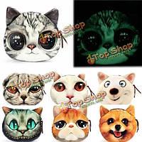 Женщины 3d кошка собака кошелек серебристых мультфильм животных бумажник монета мешки клатчи