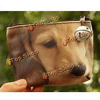 3D собака кота печати кошелек на Lightning бумажник монетки женщин клатч