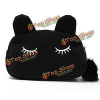 Женщины мультфильм милый кот лицо сумка холдинг имитация бархата кошелек