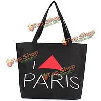 Холстины женщин Париж Эйфелева башня тотализатор случайные простые сумки на ремне большой Capcity сумками