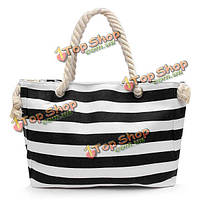 3282811dc055 Женщины холст полоса сумки веревку мешки плеча девочки летние пляжные сумки